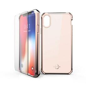 ITSKINS × MiraiSell iPhone2018 5.8inch/iPhoneX用 液晶保護ガラス付き耐衝撃ケース MSIT-P858GRG ローズゴールド