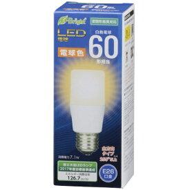 オーム電機 OHM ELECTRIC LDT7L-G AG20 LED電球 E-Bright ホワイト [E26 /電球色 /1個 /60W相当 /T形 /全方向タイプ][LDT7LGAG20]