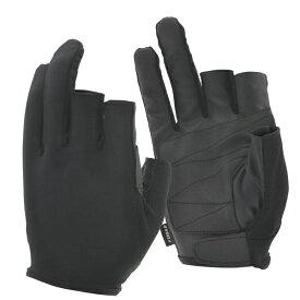 おたふく手袋 OTAFUKU GLOVE シンセティックレザー 3フィンガーレス (黒M)