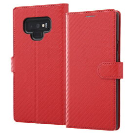 イングレム Ingrem Galaxy Note9 手帳型ケース カーボン IN-GN9LBC12/R レッド
