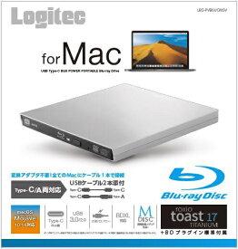 ロジテック Logitec ポータブルブルーレイドライブ USB-A/USB-C[USB3.0・Mac/Win・USBバスパワー]  Mac向け LBD-PVB6UCMSV シルバー [USB-A/USB-C][LBDPVB6UCMSV]