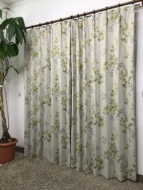 青木 AOKI 2枚組 ドレープカーテン レリーフ(100×200cm/グリーン)[生産完了品 在庫限り]