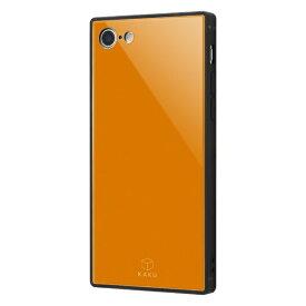 イングレム Ingrem iPhone SE(第2世代)4.7インチ/ iPhone 8/7 耐衝撃ガラスケース KAKU IQ-P7K1B/OR オレンジ