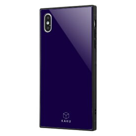 イングレム Ingrem iPhone XS Max 耐衝撃ガラスケース KAKU/ダークネイビー IQ-P19K1B/DN ダークネイビー