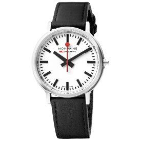 MONDAINE モンディーン メンズ腕時計 stop2go(ストップ2ゴー)バックライト MONDAINE ホワイト・ブラックレザー MST.4101B.LB [正規品]