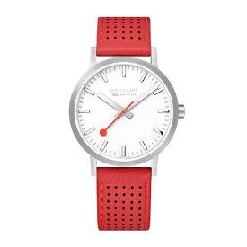 MONDAINE モンディーン メンズ腕時計 クラシックシーズナル 40mm MONDAINE ホワイト・レッドレザー A660.30360.16SBC [正規品]