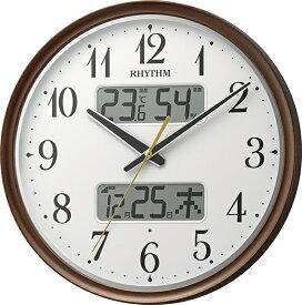 リズム時計 RHYTHM 掛け時計 【フィットウェーブリブA04】 茶メタリック 8FYA04SR06 [電波自動受信機能有]