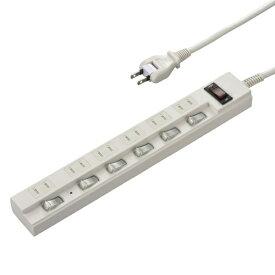 オーム電機 OHM ELECTRIC 多機能節電タップ ブレーカー付き 白 HS-TPKV65PBT-W [5.0m /6個口 /スイッチ付き(個別)][HSTPKV65PBTW]