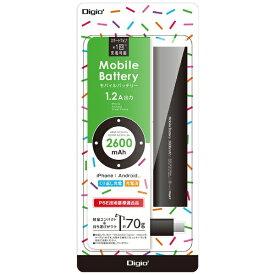 ナカバヤシ Nakabayashi スマートフォン対応[micro USB/USB給電] USBモバイルバッテリー +micro USBケーブル ブラック MB-0157BK [2600mAh /1ポート /充電タイプ]
