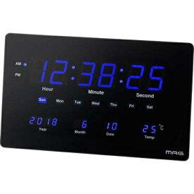 ノア精密 NOA 大型LED掛けデジタル時計 (置掛両用) デジブルー ブラック W-724BK