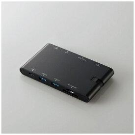 エレコム ELECOM 0.13m[USB-C オス→メス SDカードスロット / mini SDHCカードスロット / HDMI /VGA / LAN / USB-Ax2 / USB-Cx1] USB Type-C接続モバイルドッキングステーション Power Delivery対応 DST-C05BK ブラック[DSTC05BK]