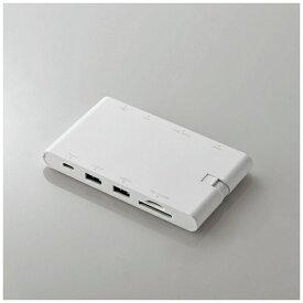 エレコム ELECOM 0.13m[USB-C オス→メス SDカードスロット / mini SDHCカードスロット / HDMI /VGA / LAN / USB-Ax2 / USB-Cx1] USB Type-C接続モバイルドッキングステーション Power Delivery対応 DST-C05WH ホワイト[DSTC05WH]