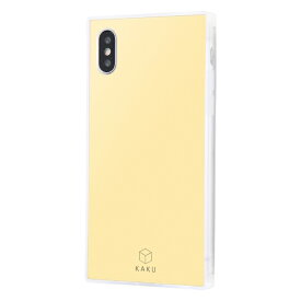 イングレム Ingrem iPhone XS / X 耐衝撃ガラスケース KAKU シルク IQ-P20K2C/CY クリームイエロー