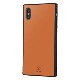 イングレム Ingrem iPhone XS / X 耐衝撃ガラスケース KAKU シルク IQ-P20K2B/DO ダークオレンジ
