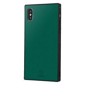 イングレム Ingrem iPhone XS / X 耐衝撃ガラスケース KAKU シルク IQ-P20K2B/DG ダークグリーン