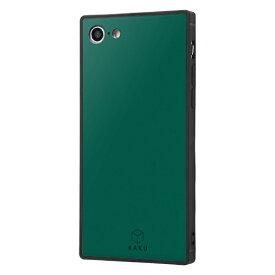 イングレム Ingrem iPhone SE(第2世代)4.7インチ/ iPhone 8 / 7 耐衝撃ガラスケース KAKU シルク IQ-P7K2B/DG ダークグリーン