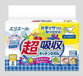大王製紙 Daio Paper エリエール超吸収キッチンタオルシートタイプ100組2個
