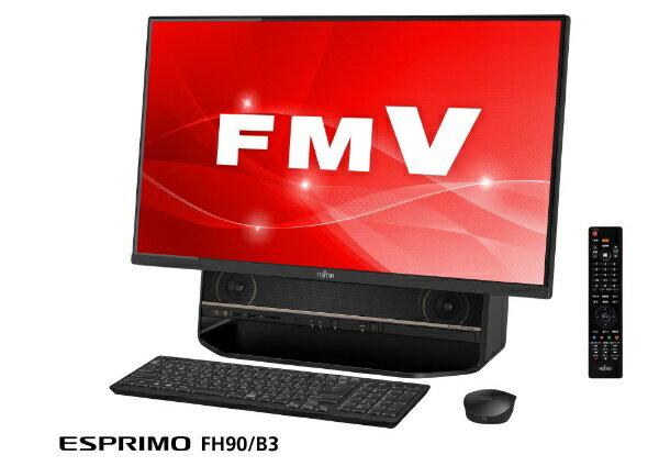 富士通 FUJITSU ESPRIMO FH90/B3 デスクトップパソコン [27型 /CPU:Core i7 /HDD:3TB /メモリ:8GB /2019年1月モデル] FMVF90B3B2 オーシャンブラック [27型 /HDD:3TB /メモリ:8GB /2019年1月モデル][FMVF90B3B2]