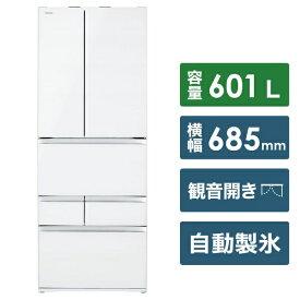 東芝 TOSHIBA 《基本設置料金セット》GR-R600FZ-UW 冷蔵庫 クリアグレンホワイト [6ドア /観音開きタイプ /601L][GRR600FZUW]【zero_emi】