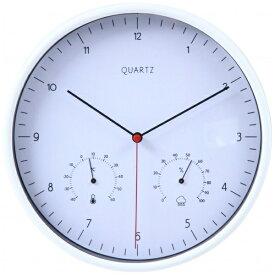 不二貿易 Fuji Boeki 掛け時計 温湿度計付 ローレス ホワイト 99043