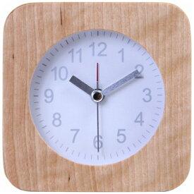 不二貿易 Fuji Boeki 目覚まし時計 ウッド スクエア ホワイト(文字盤) 36697