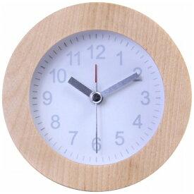 不二貿易 Fuji Boeki 目覚まし時計 ウッド ラウンド ホワイト(文字盤) 36700