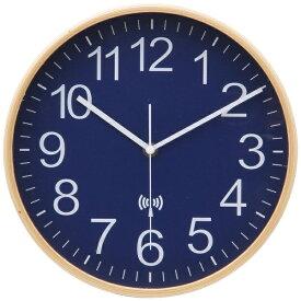 不二貿易 Fuji Boeki 電波掛け時計 プライウッド ネイビー 85353 [電波自動受信機能有]