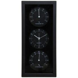 不二貿易 Fuji Boeki 置き時計 温湿度計付 縦型 ダンデ ブラック 99061