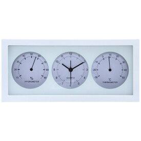 不二貿易 Fuji Boeki 置き時計 温湿度計付 横型 ダンデ ホワイト 99062