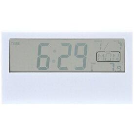 不二貿易 Fuji Boeki 置き時計 デジタル クリア ホワイト 99064