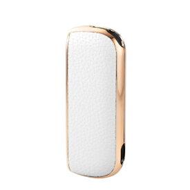 エレコム ELECOM 電子タバコアクセサリ IQOS3 サイドメッキソフトレザーカバー ホワイト×ゴールド ET-IQ3UCMWH