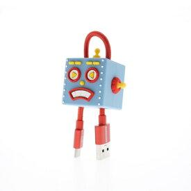TUNEWEAR TUNEWEAR CableArt ロボット USB-A to USB-C 同期・充電用ケーブル 18cm高出力対応3A ケーブル保護 ブルー TUN-OT-000046c [0.18m]