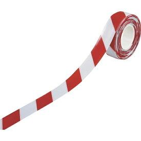 日本緑十字 JAPAN GREEN CROSS 緑十字 高耐久ラインテープ 白/赤 50mm幅×10m 両端テーパー構造 屋内用 403078