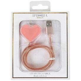 IPHORIA USBライトニングケーブル Metalic Heart Rosa