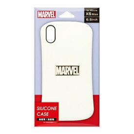 PGA iPhone XS Max用 シリコンケース PG-DCS591MVL ロゴ/ホワイト&ゴールド