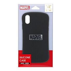 PGA iPhone XR用 シリコンケース PG-DCS580MVL ロゴ/ブラック&シルバー