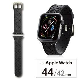 エレコム ELECOM Apple Watch 44 42mm シリコンバンド イントレチャート ブラック AW-44BDSCIBK[AW44BDSCIBK]