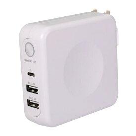 OWLTECH オウルテック ACコンセント付 6700mAh モバイルバッテリー OWL-LPBAC6701-WH ホワイト [6700mAh /2ポート /充電タイプ]