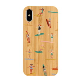 KIBACOWORKS キバコワークス [iPhone XS/X専用]kibaco BAMBOO RUBBER CASE 663-103095 SURF GIRLS