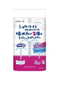 大王製紙 Daio Paper エリエールシャワートイレのためにつくった吸水力が2倍のトイレットペーパーフラワープリント香水付き12R (ダブル)