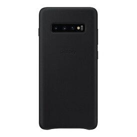 SAMSUNG サムスン 【サムスン純正】Galaxy S10+用 Leather Cover ブラック EF-VG975LBEGJP
