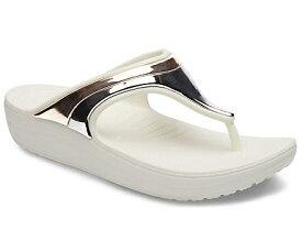 クロックス Crocs 25.0cm レディース フットウェア Women`s Crocs Sloane MetalBlock Wedge Flip(W9/Multi Rose Gold/Oyster)#205357
