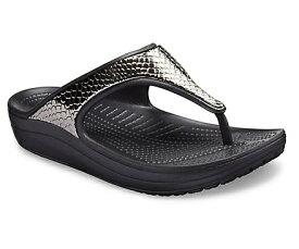 クロックス Crocs 24.0cm レディース フットウェア Women`s Crocs Sloane Metallic Texture Flip(W8/Gunmetal/Black)#205604