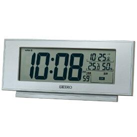 セイコー SEIKO 目覚まし時計 【快適環境NAVI】 銀色メタリック SQ794S [デジタル /電波自動受信機能有]