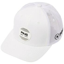 ピン PING ユニセックス キャップ ストラクチャー 6パネル メッシュキャップ フレックスフィット - サークルパッチ(フリーサイズ:57〜59cm/ホワイト×ホワイト)