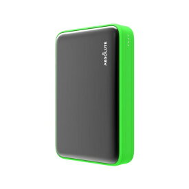 ABSOLUTE TECHNOLOGY アブソルート モバイルバッテリー Fast Charge mini 10000 ブラック x グリーン fast-charge-10000-gn [10000mAh /USB Power Delivery・Quick Charge対応 /2ポート /充電タイプ]