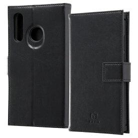 イングレム Ingrem HUAWEI P30 lite/HUAWEI P30 lite Premium / 手帳型 耐衝撃レザーケース KAKU IS-HP30LKBC3/BB ブラック