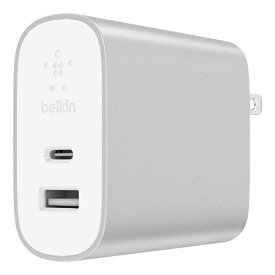 BELKIN ベルキン BOOST↑CHARGE スマホ用USB充電コンセントアダプタ(27W USB-C + 12W USB-A) F7U061DQ-SLV [USB Power Delivery対応]