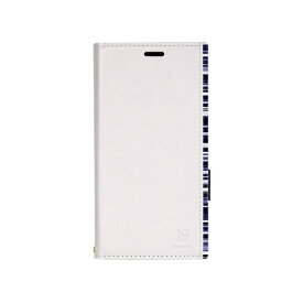 ナチュラルデザイン NATURAL design Xperia XZ2専用手帳型ケース アクセントボーダー White x Blue XZ2-ACB07