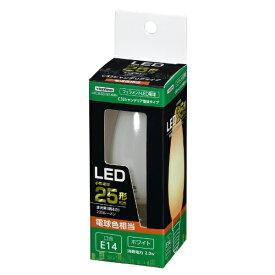 ヤザワ YAZAWA C32シャンデリア形LED E14 L色 WH 25W形相当 LDC2LG32E14WH